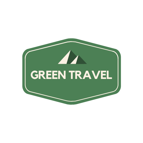 Cream and Green Badge Travel Logo